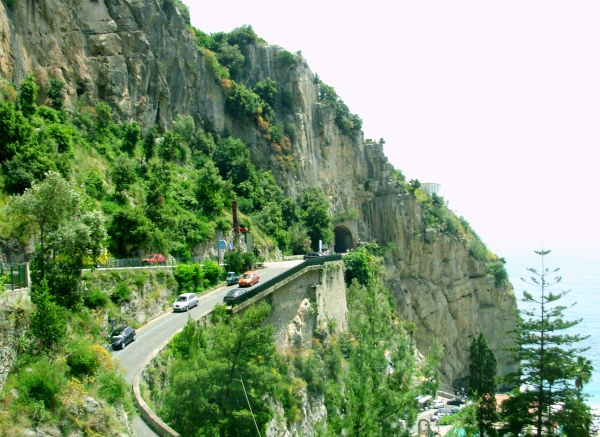 Just outside the tunnel, a fork in this Amalfi Coast road, with good views either way.  Italy, May 2008