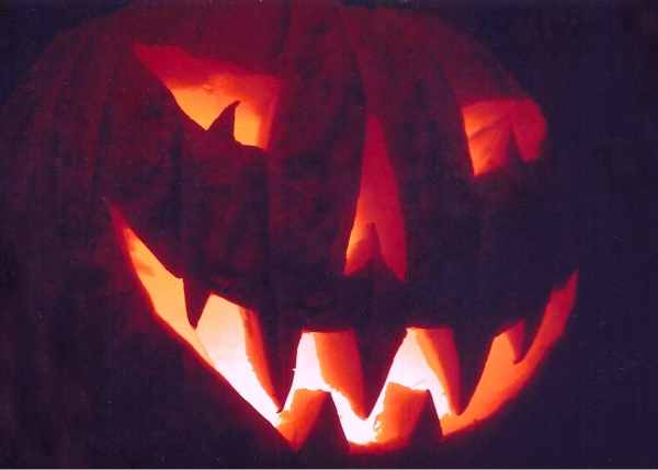 I scanned this very old photograph of a long-ago jack-o-lantern I carved for the boys.