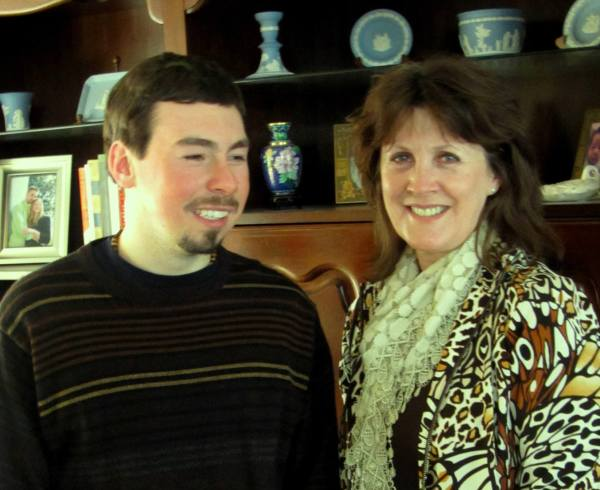 "Matt with ""Ms. Darla,"" who has opened so many doors for him.  February 2012"