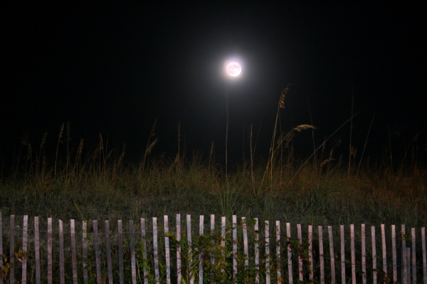 The Harvest Moon shines on Dam Neck, Virginia, September 2013