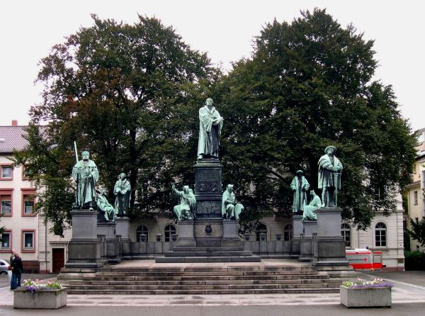 This monument honors Martin Luther and other leaders of the Protestant Reformation.  Worms, Germany, August 2005
