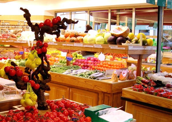 Even in December, this produce shop in rue Cler, Paris, had abundant healthy choices.  December 2005