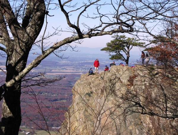 Precarious, but breathtaking: hikers pause to enjoy the Blue Ridge vistas, November 2011