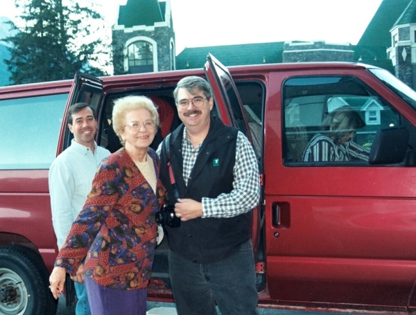 Jeff, Mom, Eric and Carla (in the front seat of the van) heading out to explore.