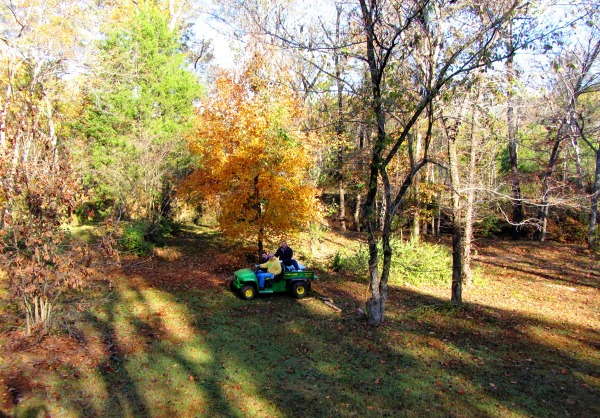George, Jeff and Matt take a ride on George's Gator. Russellville, Alabama, November 2011