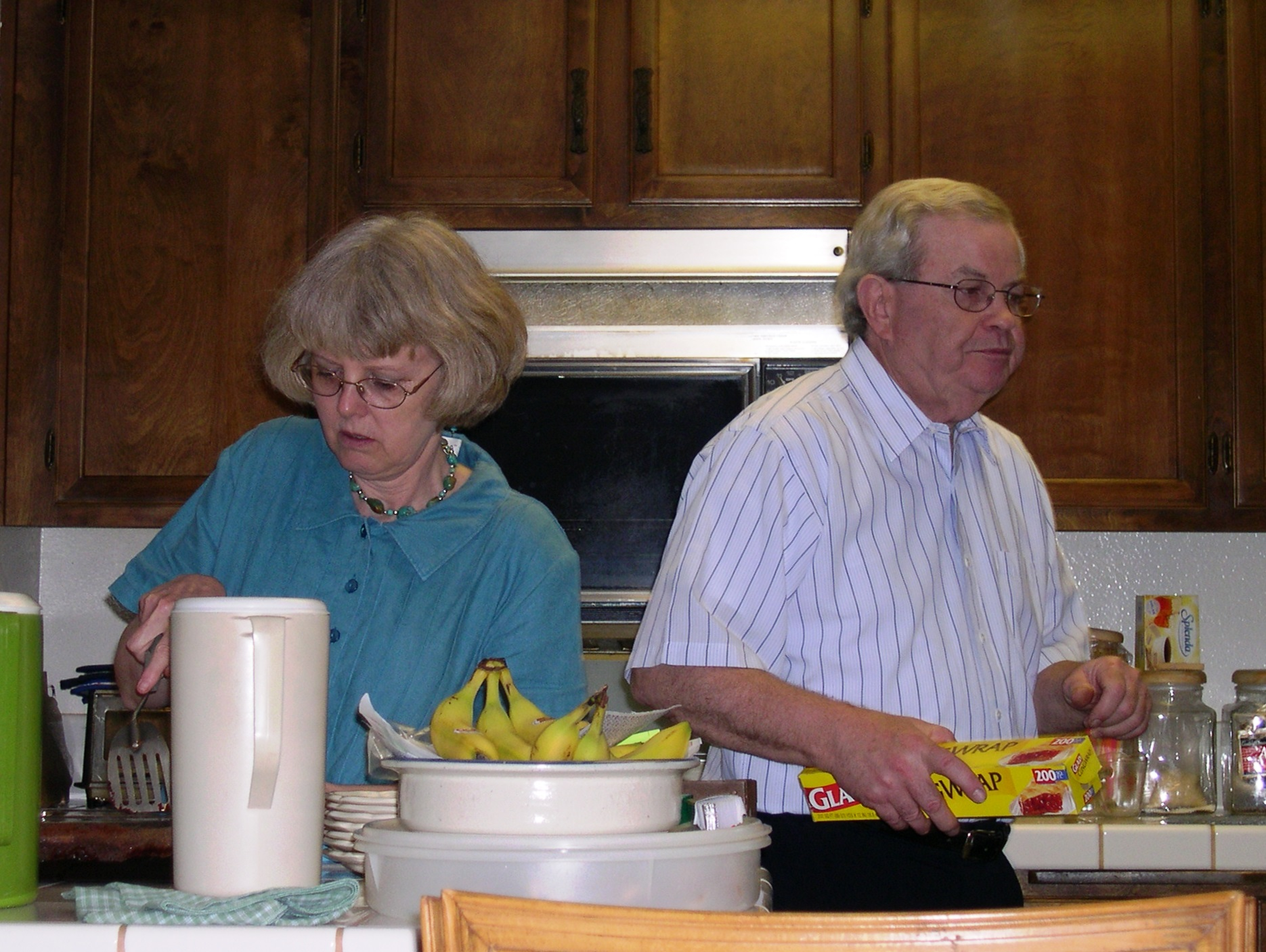 Janet and C. W. busy in the kitchen, June 2004