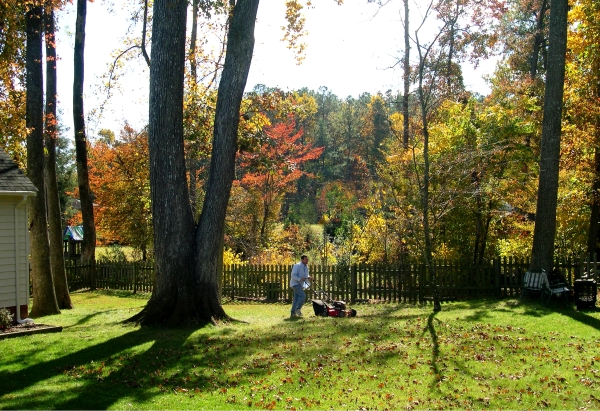 Jeff mowing our back yard on November 3, 2006, York County, Virginia