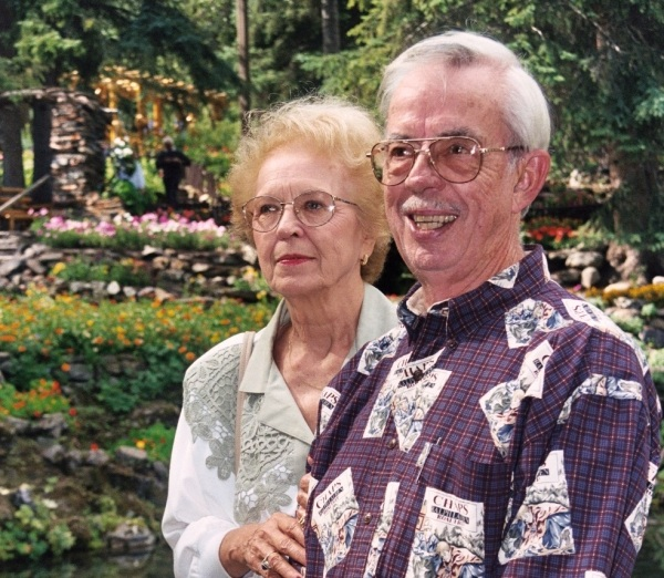 Mom and Dad at a garden in Banff