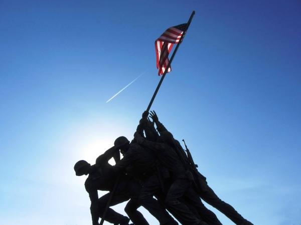The US Marine Corps War Memorial at sunset, April 2012