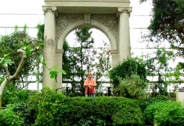 Kathy rejoices at the Missouri Botanical Garden, St. Louis, 2008