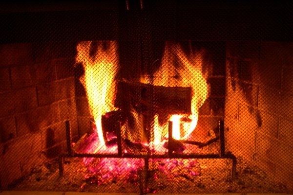 Our fireplace in Calfornia, January 2003