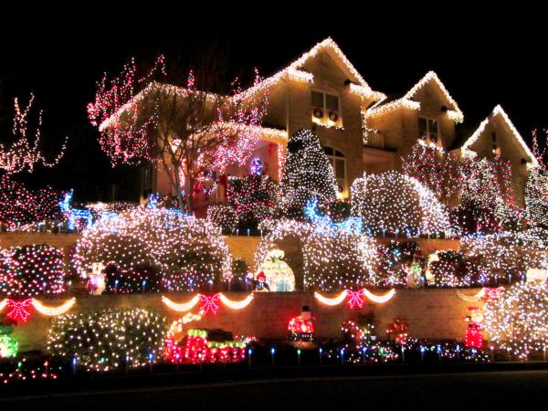 A home near ours in Yorktown, Virginia, lights up the night, 2012
