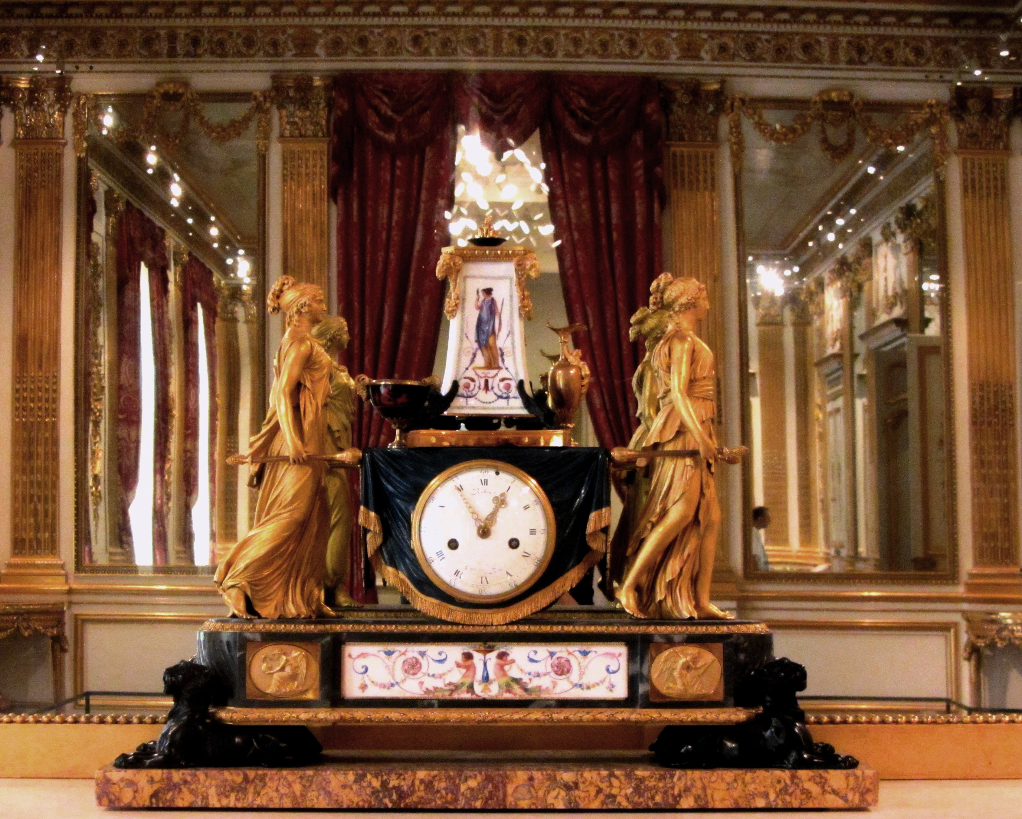This clock came from Queen Marie-Antoinette's private sitting room at the Tuileries Palace, Paris; photographed on display at the Corocoran Gallery of Art, Washington, DC, September 2013.