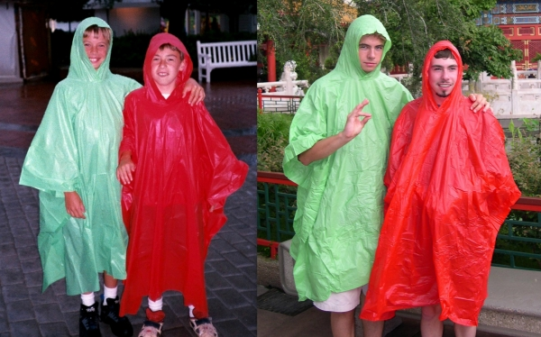 Having fun in the rain, then and now: Drew and Matt at EPCOT Center in 1995 and 2003