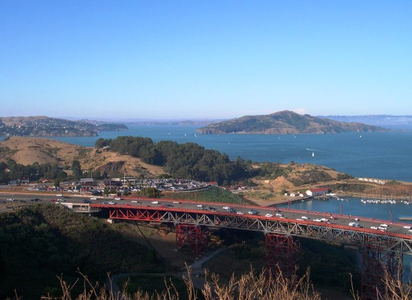 The approach to the Golden Gate Bridge, as seen from Marin Headlands, July 2003