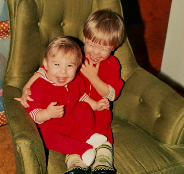 Matt and Drew in 1986, laughing together as they still do so often.