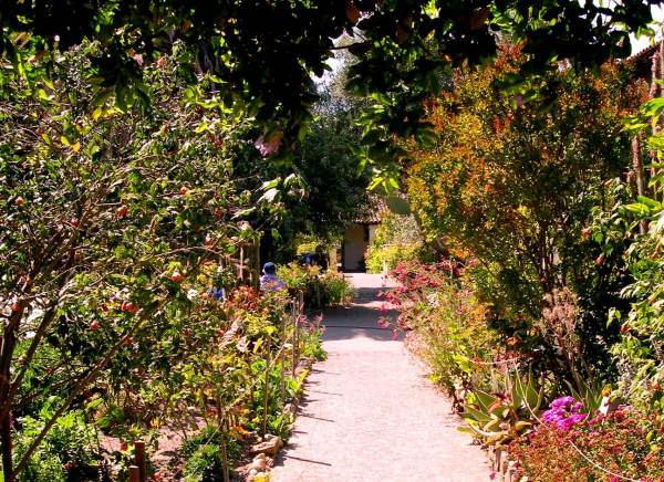 Sometimes the pathway is beautiful, sometimes not, but I truly believe we need never walk it alone. Mission San Juan Bautista, California, June 2003