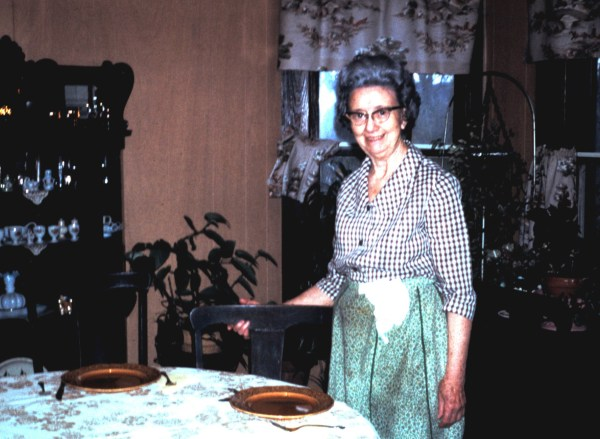 Dinnertime at Granny's! And you wont believe how delicious it will be. Granny in her dining room, sometime around 1973.