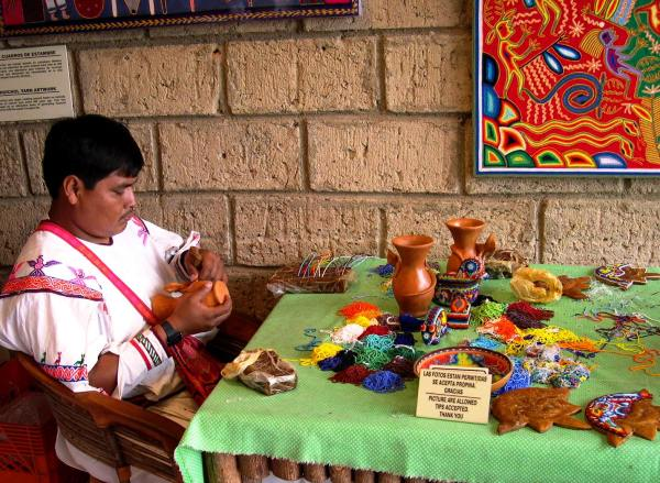 A Huichol yarn artist in Puerto Vallarta, Mexico, March 2004