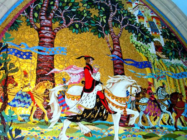 This enormous mosaic of happily-ever-after was created one tiny tile at a time.  Cinderella's castle, Walt Disney World, August 2003