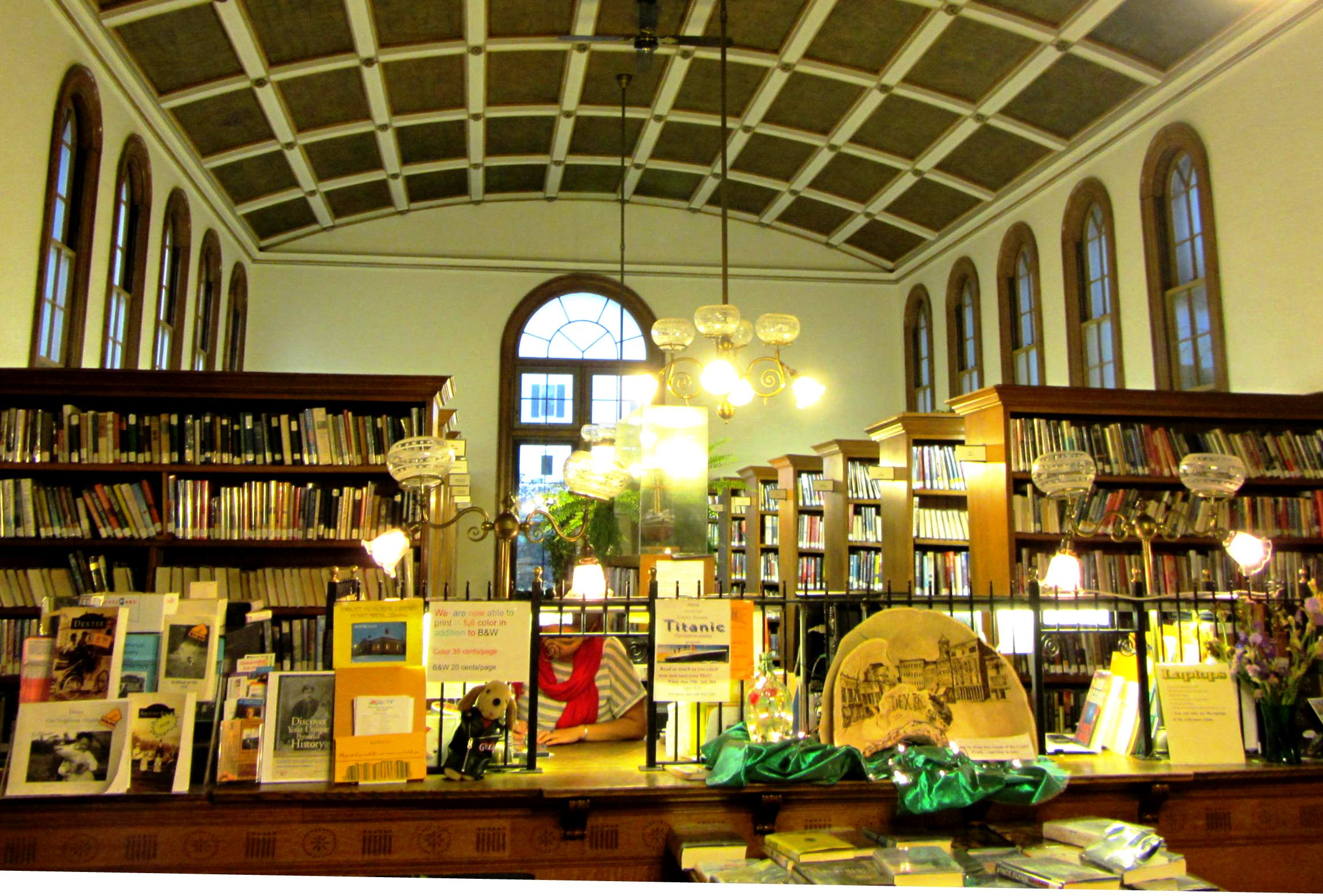 The public library at Dexter, Maine is historic but up to date.  June, 2012