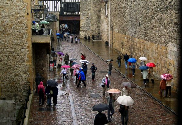 The English climate on full display at the Tower of  London, August 2005