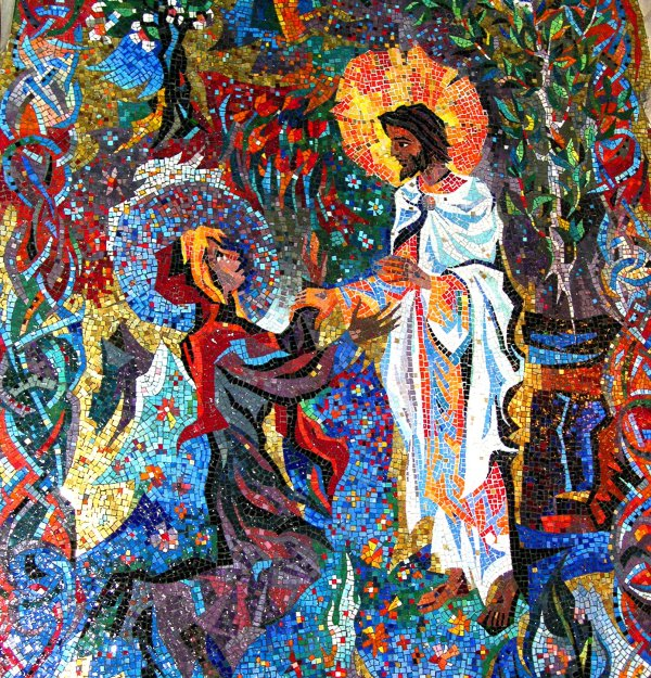 This mosaic is one of many in the Resurrection Chapel at Washington National Cathedral. Photographed April 2005