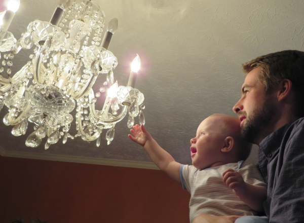Grady and the chandelier March 2014