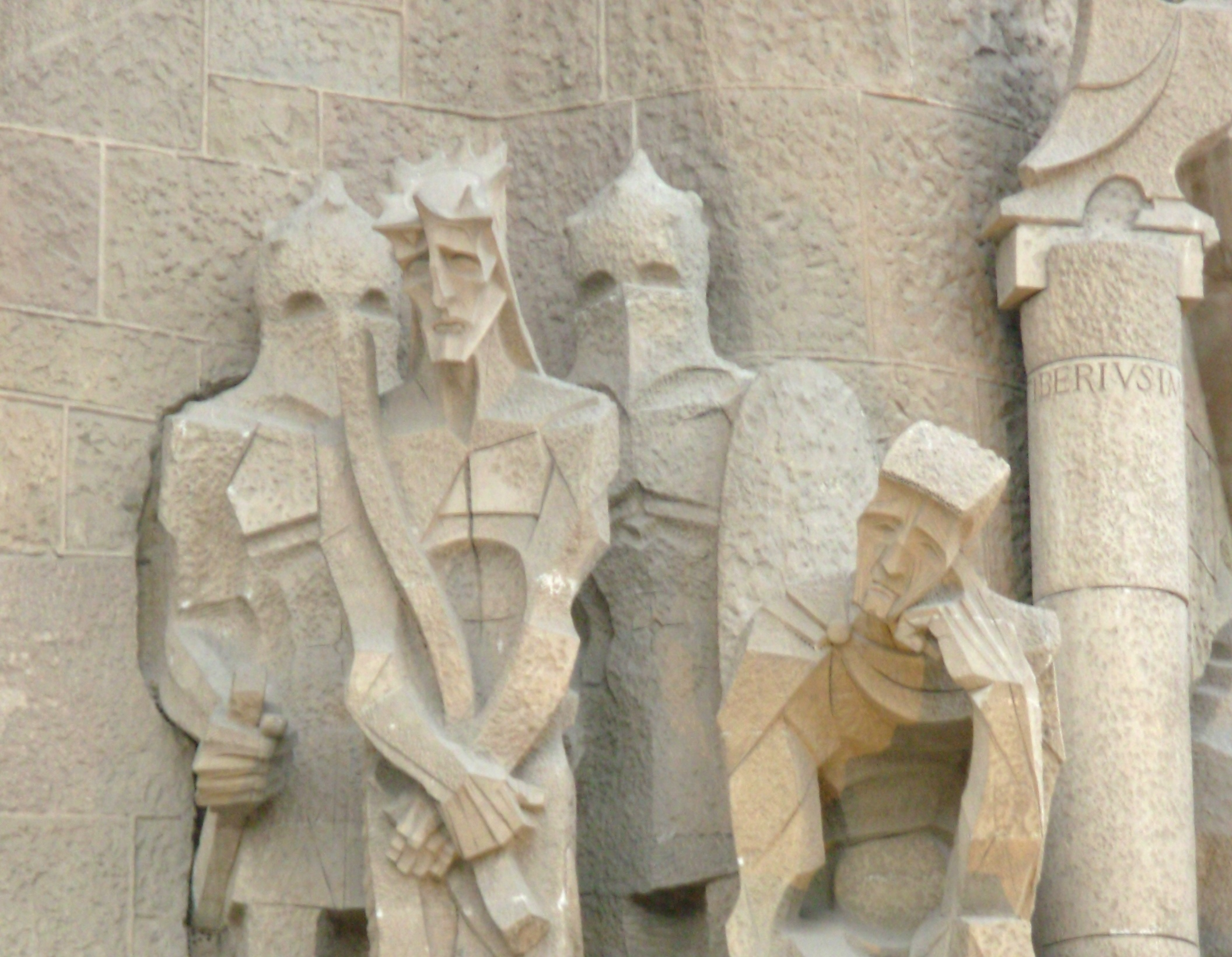 At Barcelona's Sagrada Familia, photographed May 2008, exterior sculptures tell the story of Jesus.