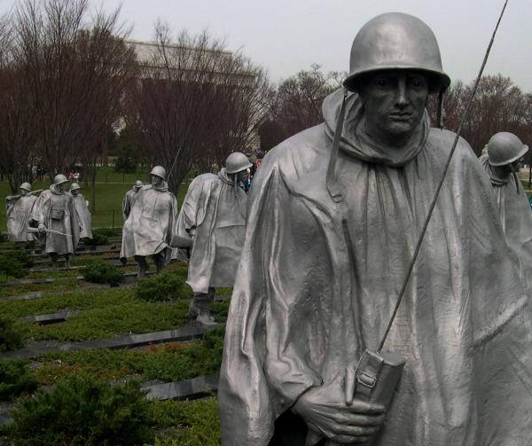 A partial view of the Korean War Veterans Memorial, Washington, DC, March 2005