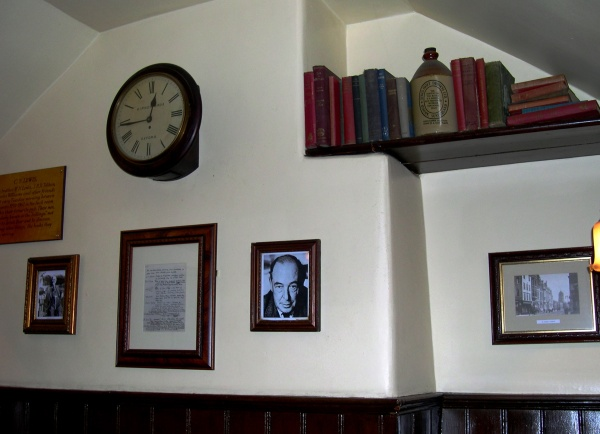 This modest tribute to Lewis and Tolkien adorns a wall in the Eagle and Child, the Oxford pub where they met with friends. December, 2005