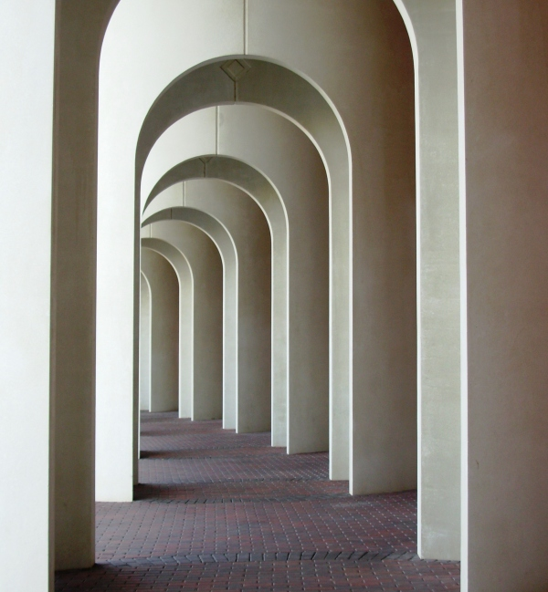 This simple, elegant outdoor walkway is part of the Ferguson Center for the Arts. Newport News, Virginia, January 2009