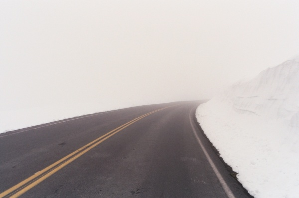 It was pretty hard to see where we were going on this road at Crater Lake, Oregon, but it turned out to be a wonderful adventure. June (yes, June) 2000.