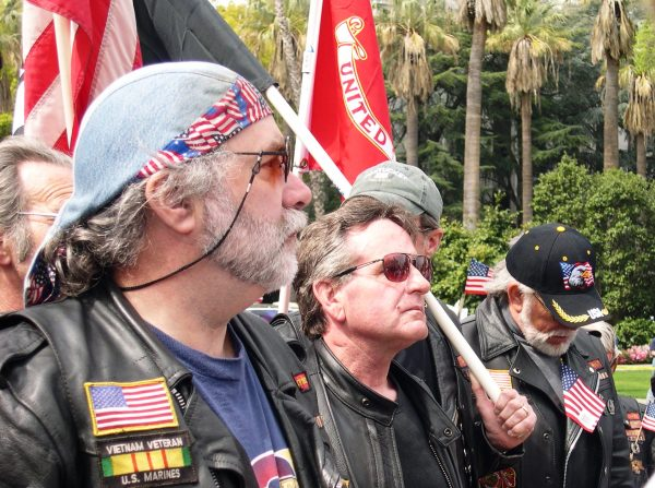 Bikers were among hundreds of veterans and civilians attending a pro-USA rally in Sacramento, California, March 2003.