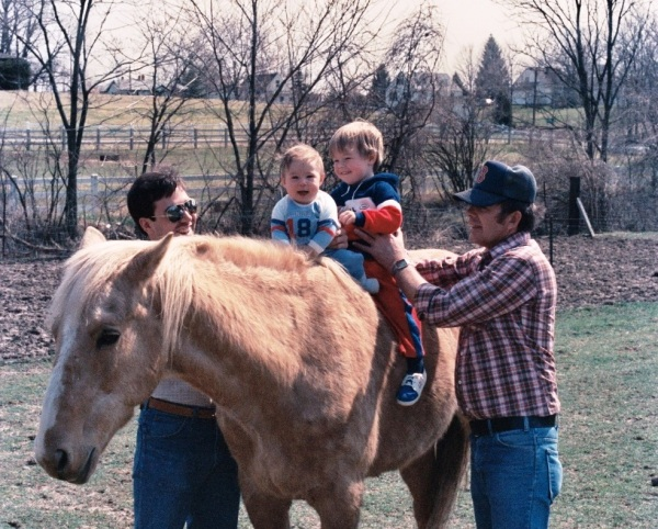 Jeff, Matt and Drew at a friend's farm in Dayton, Ohio,  Jeff's first Air Force assignment.  Late summer, 1986