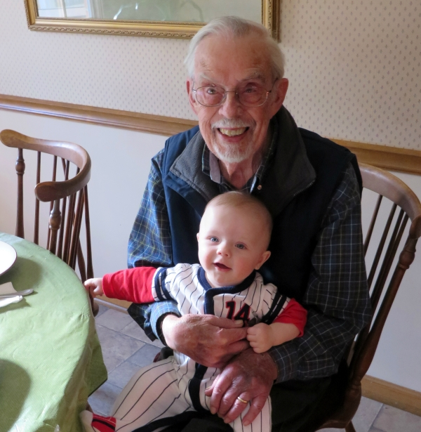 Daddy with Grady, January 2014 - only 85 years difference between them !