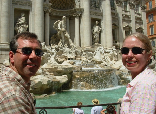 At the Trevi Fountain in Rome, May 2008. We threw our coins, so we hope the legend comes true for us!