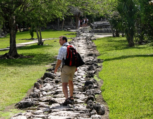 It's okay to look back, but keep moving forward. Jeff explores the Mayan ruins near Cozumel, Mexico, March 2011