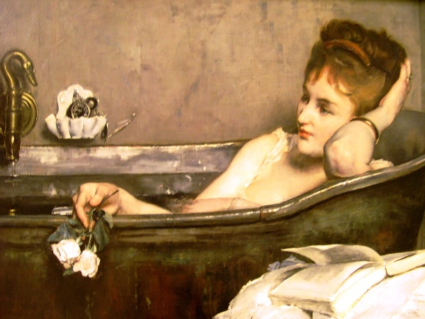 I photographed Alfred Stevens' Le Bain at the Louvre in August 2005. (Artwork is in the common domain.)