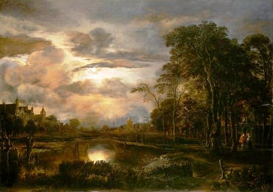 """""""Van der Neer - Moonlit Landscape with Bridge"""" by Aert van der Neer  Licensed under Public domain via Wikimedia Commons"""