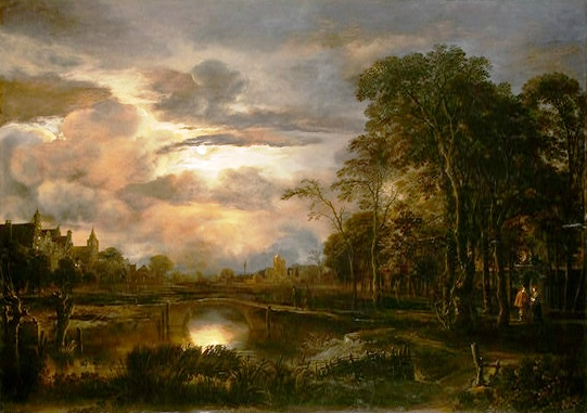 """Van der Neer - Moonlit Landscape with Bridge"" by Aert van der Neer  Licensed under Public domain via Wikimedia Commons"