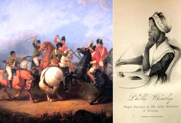 The Battle of Cowpens as depicted by William Ranney, along with a profile of formerly enslaved poet Phillis Wheatley. (Images in the public domain)