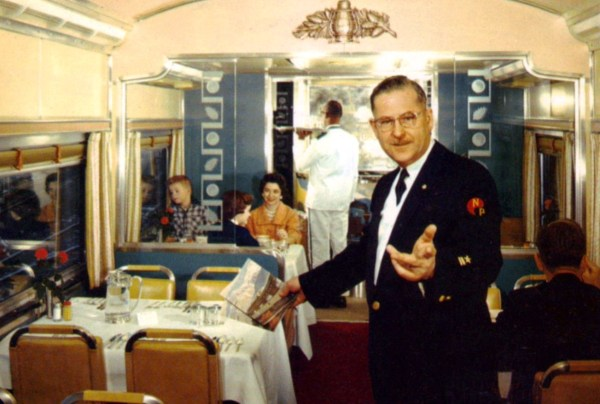 The past beckons, but we can't go there except in our imaginations. The dining car of the Northern Pacific Railway North Coast Limited Image licensed under Public domain via Wikimedia Commons