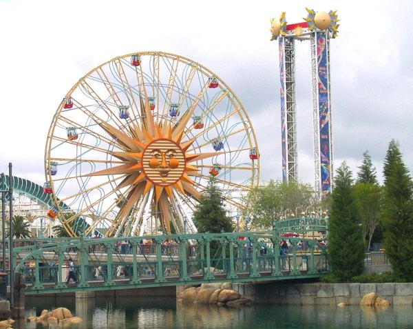 The former Sun Wheel, now restyled as Mickey's Fun Wheel, has moving gondolas. Disney's California Adventure Park, Anaheim, California, April 2003