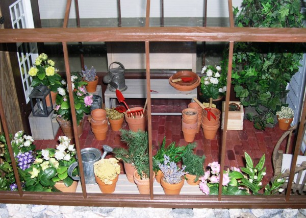 I got so excited about this greenhouse in the Tasha Tudor dollhouse that I took several photos of it. Colonial Williamsburg, Virginia, December 2004