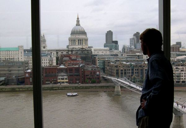 Drew looks out on London from the Tate Modern, August 2005.