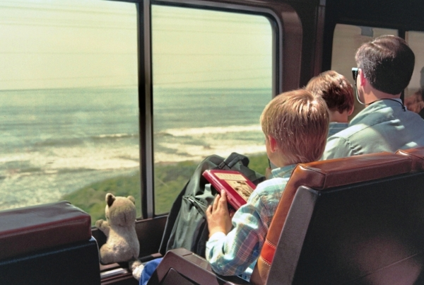 Gludgey joins Drew, Matt and Jeff looking out from the Coast Starlight. Santa Barbara County, California, April 1993
