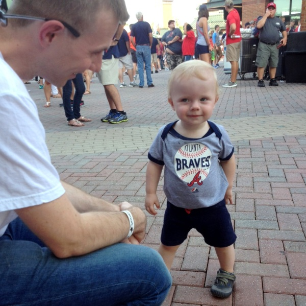 """Grady with """"Uncle"""" Paul at Turner Field, Atlanta, August 16, 2014"""