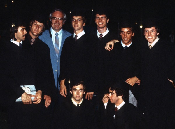 Jeff with college friends and a favorite professor at graduation, Lipscomb University, Nashville, Tennessee, June 1980 BONUS TRIVIA QUESTION: Can you spot the practical joker? The future attorney? The track stars? The other future dentist (besides Jeff)?  The two who came from the same VERY small town?