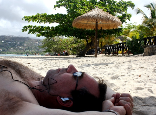 Jeff takes a rare nap on the beach in Grenada, March 2010.